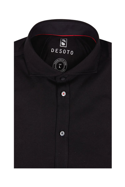 Desoto - Solid Black Knit Sport Shirt