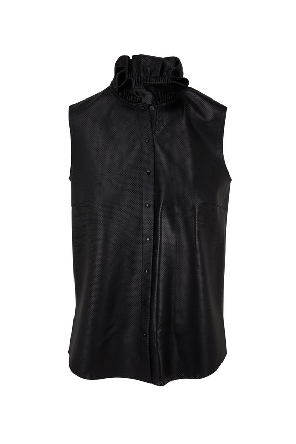 Akris Punto Black Perforated Leather Ruffled Neck Blouse