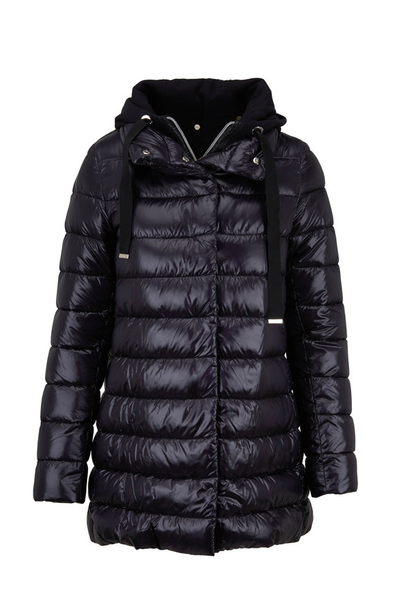 Herno Classic Black Hi-Lo Puffer Jacket