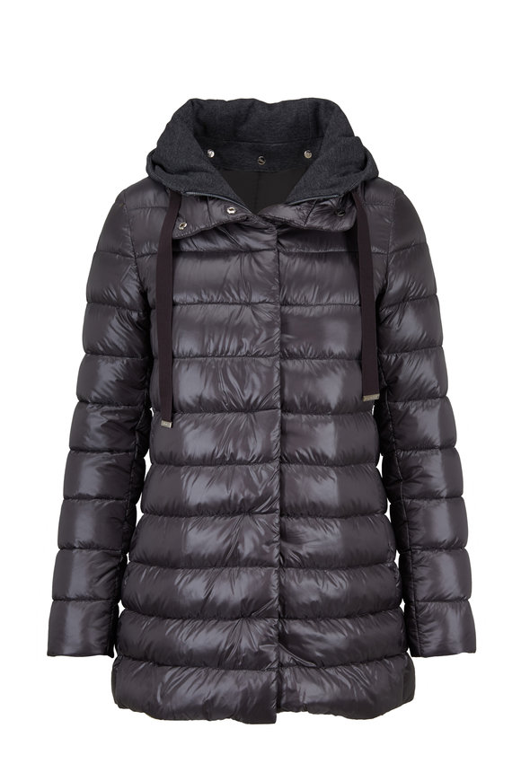 Herno Classic Charcoal Gray Hi-Lo Puffer Jacket