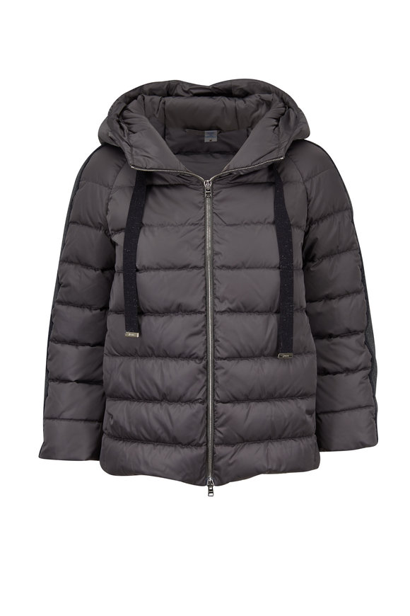 Herno Charcoal Gray Detachable Cuffs Hooded Puffer Coat