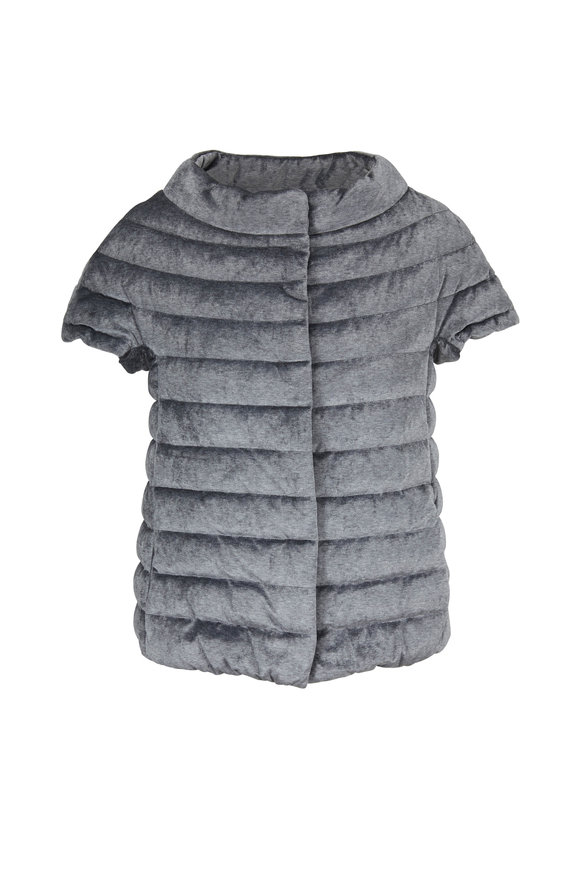 Herno Silver Quilted Silver Cap Sleeve Puffer Jacket