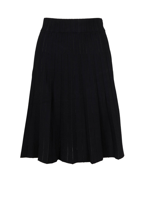 Akris Punto Black & Silver Striped Pleated Skirt