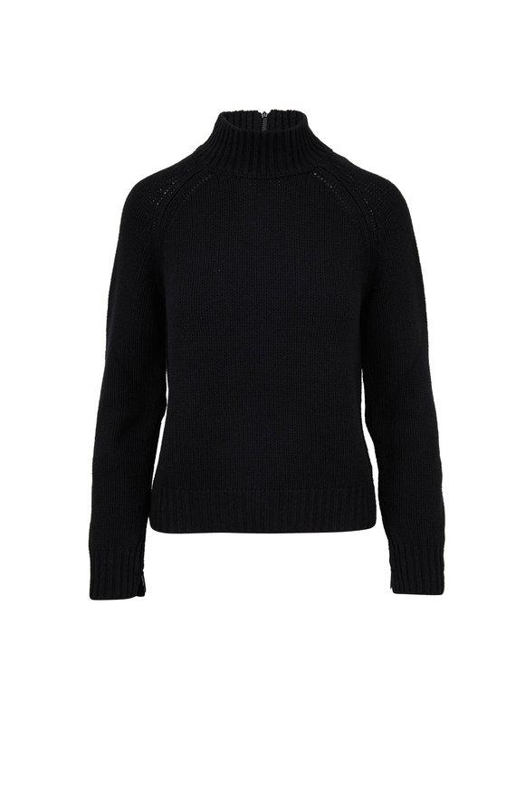 Akris Punto Black Wool & Cashmere Zip Cuff Turtleneck Sweater