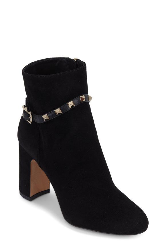 Valentino Garavani Rockstud Black Suede Ankle Boot, 90mm