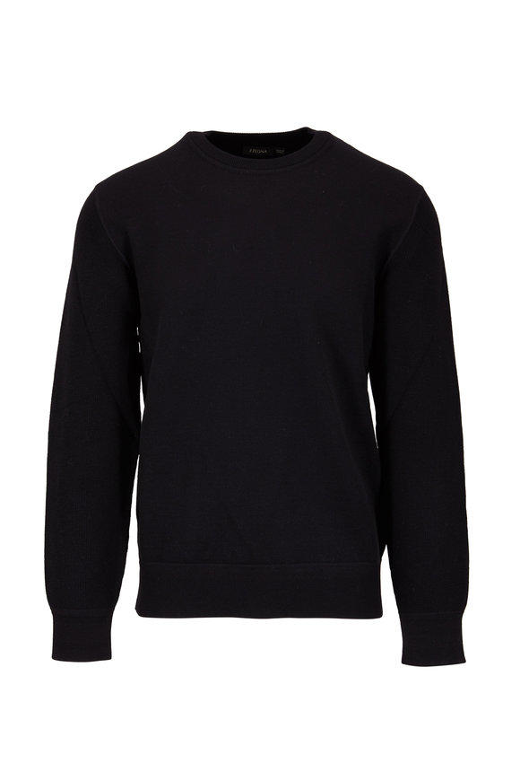 Z Zegna Black Wool French Terry Crewneck Sweater