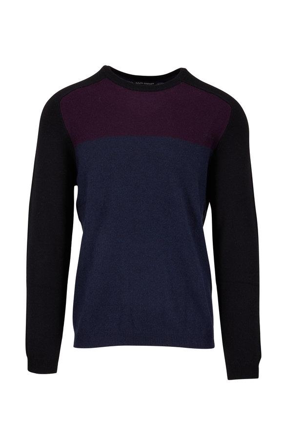Autumn Cashmere Navy, Burgundy & Black Colorblock Cashmere Sweater