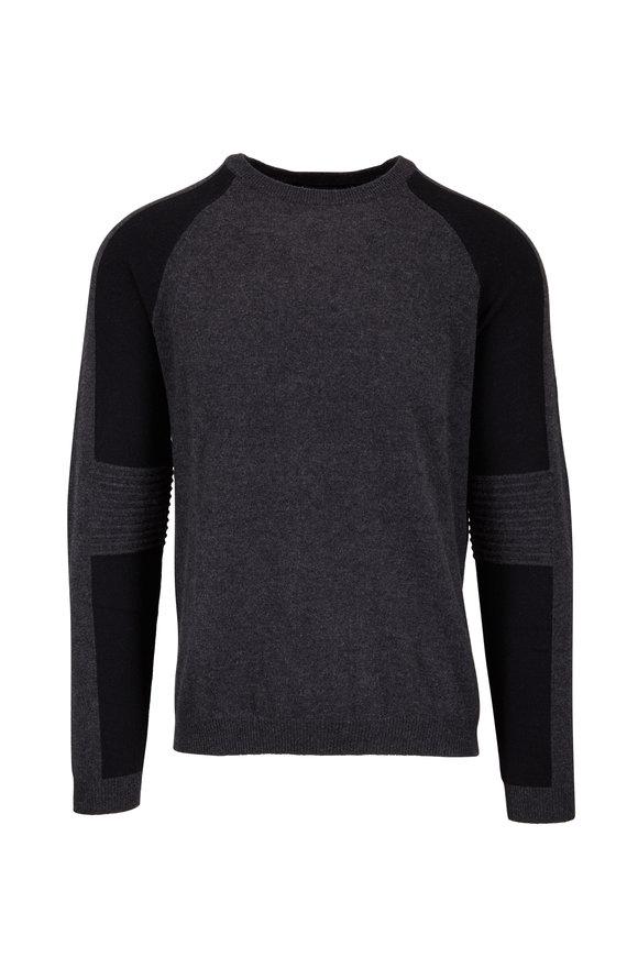 Autumn Cashmere Gray & Black Colorblock Cashmere Sweater