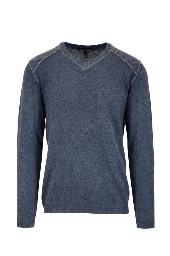 Autumn Cashmere Blue Inked Cashmere V-Neck Sweater
