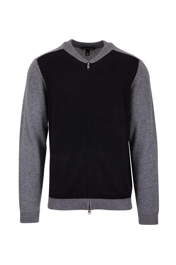 Autumn Cashmere Gray & Black Cashmere Full-Zip Cardigan