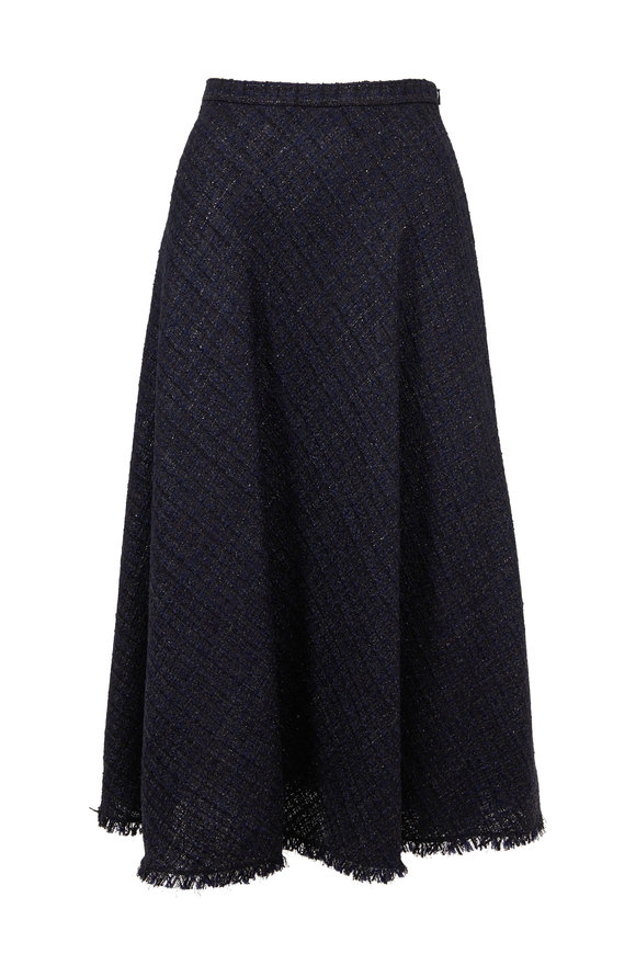Escada Raffani Black Lurex Tweed Midi Skirt