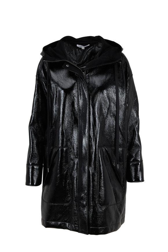 Elizabeth & James Varick Black Coated Hooded Raincoat