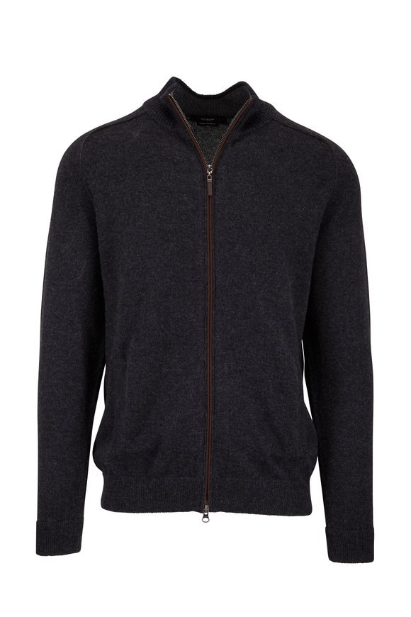 Kinross Charcoal Gray Cashmere Zip Cardigan