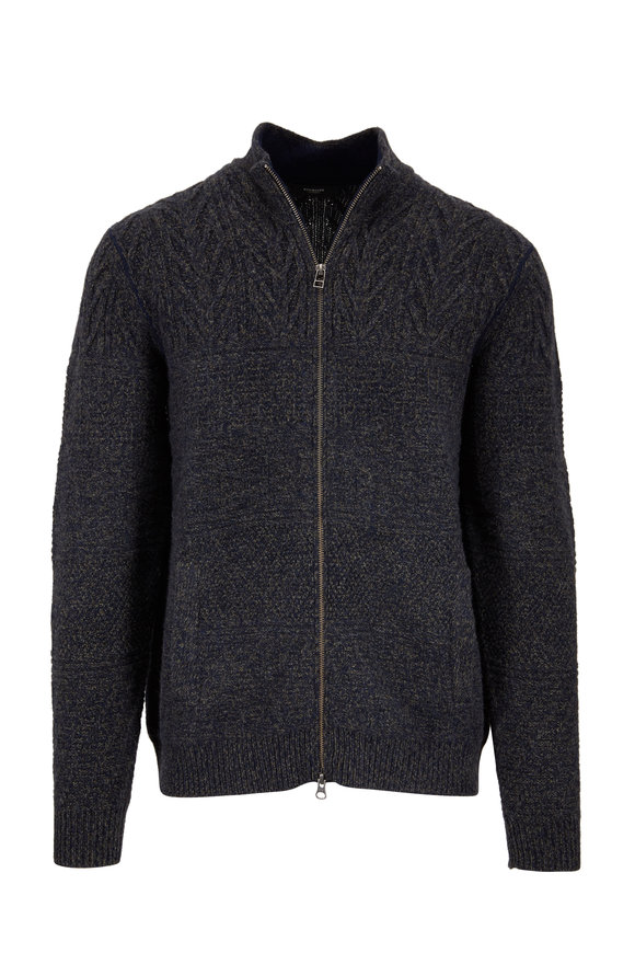 Kinross Navy Blue Marled Cashmere Cable Knit Zip Cardigan