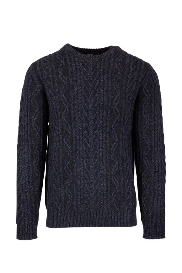 Kinross Navy Blue Marled Cashmere Blend Cable Knit Sweater