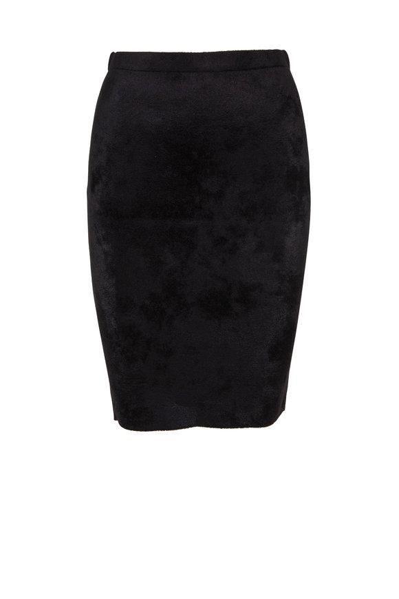 D.Exterior Black Velvet Front Pull-On Skirt