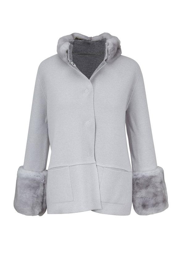 D.Exterior Pearl & Medium Gray Fur Trim Reversible Jacket