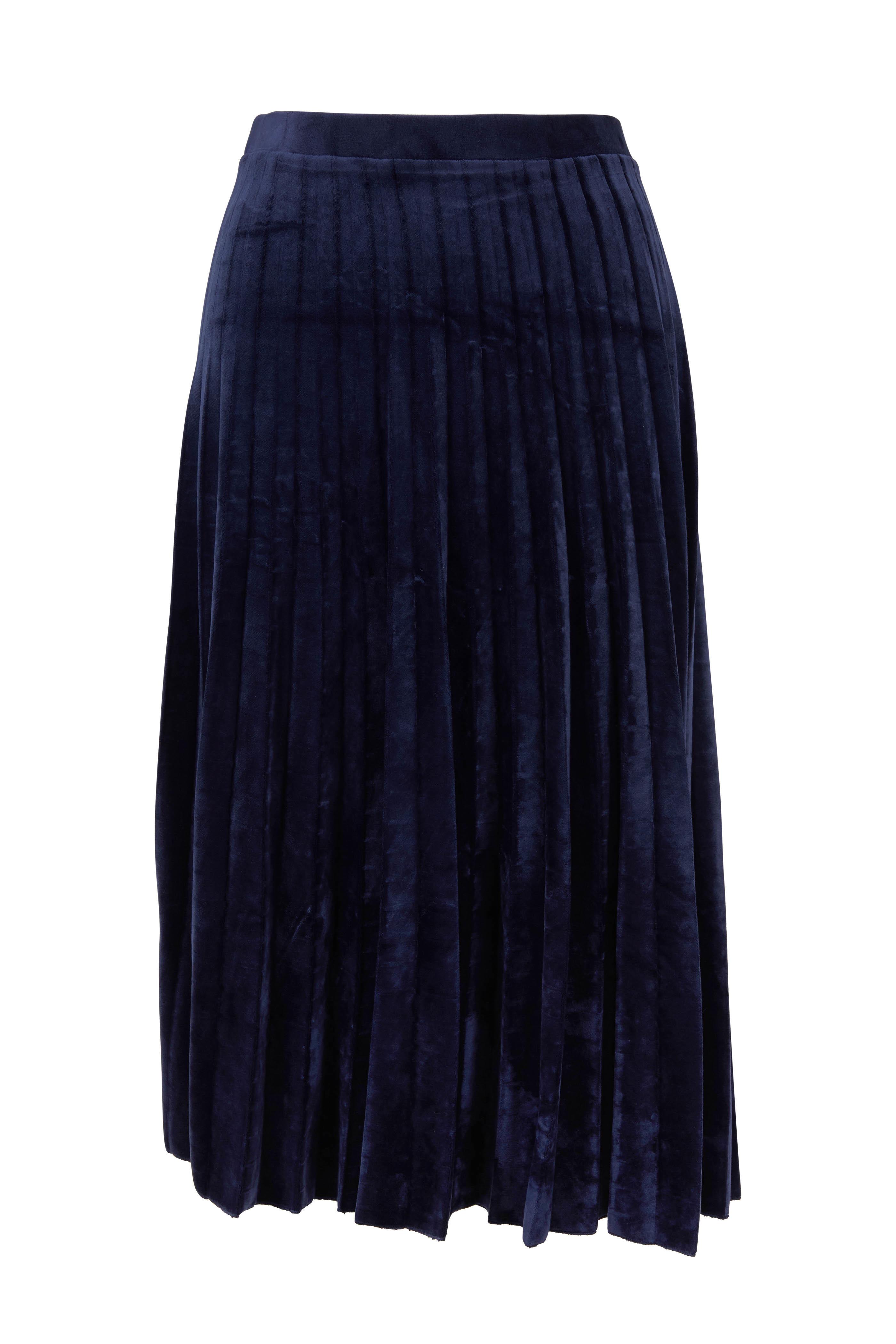 D Exterior Navy Blue Velvet Pleated Midi Skirt Mitchell Stores