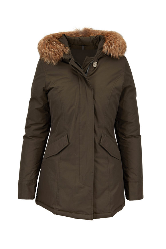 Woolrich Dark Green Arctic Detachable Fur Trim Hooded Parka