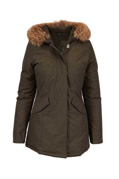 Woolrich - Dark Green Arctic Detachable Fur Trim Hooded Parka