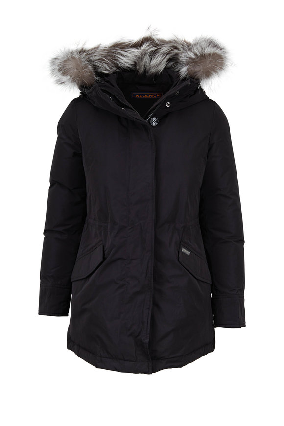 Woolrich Black Arctic Detachable Fur Trim Hooded Parka