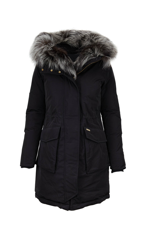 Woolrich Black Military Detachable Fur Trim Hooded Parka