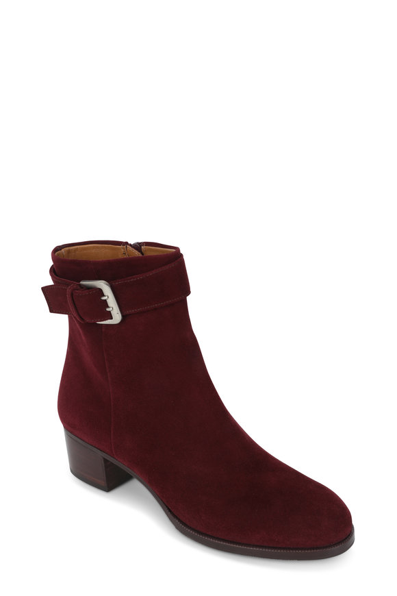 Gravati Bordeaux Suede Buckled Ankle Boot