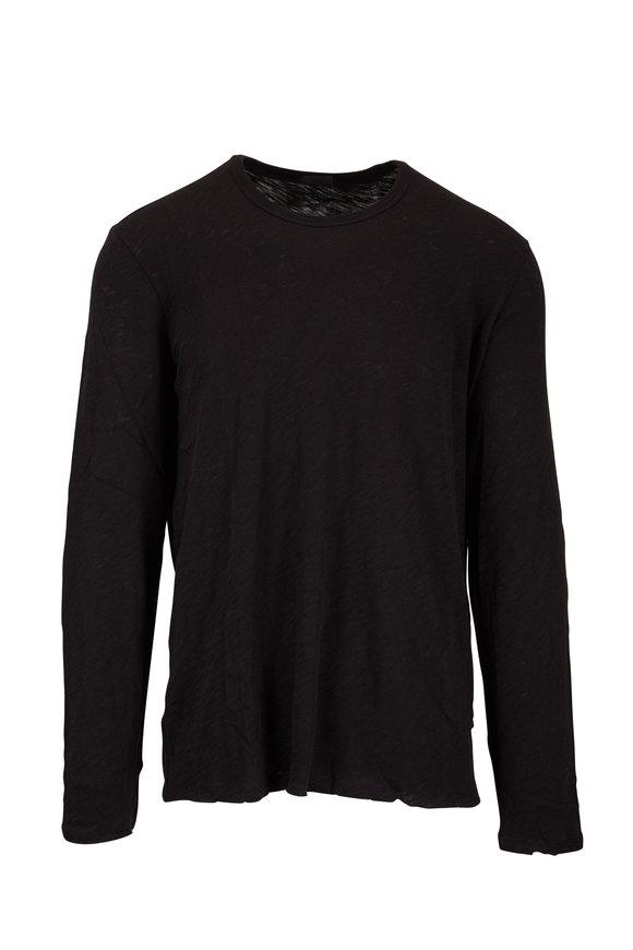 A T M Black Slub Knit Crewneck Long Sleeve T-Shirt