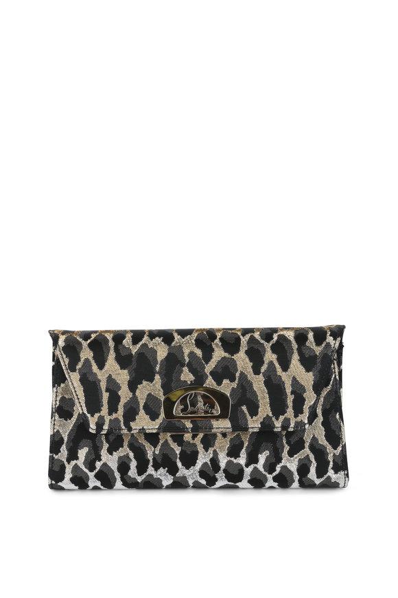 Christian Louboutin Vero Dodat Black & Gold Lurex Leopard Clutch