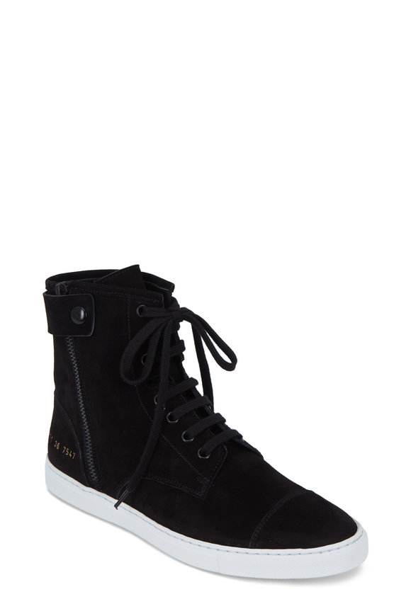 WOMAN by COMMON PROJECTS Women's Training Black Suede High Top Sneaker
