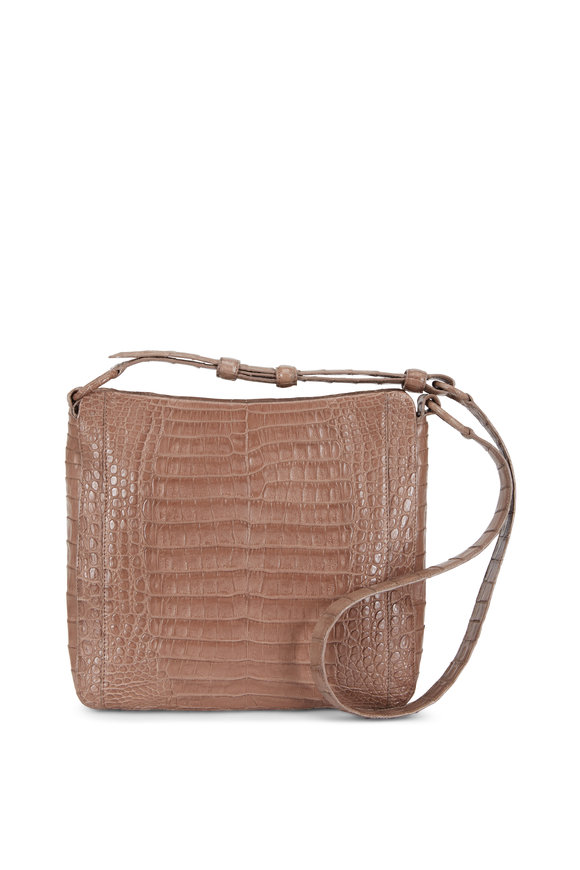 Nancy Gonzalez Taupe Crocodile Large Crossbody