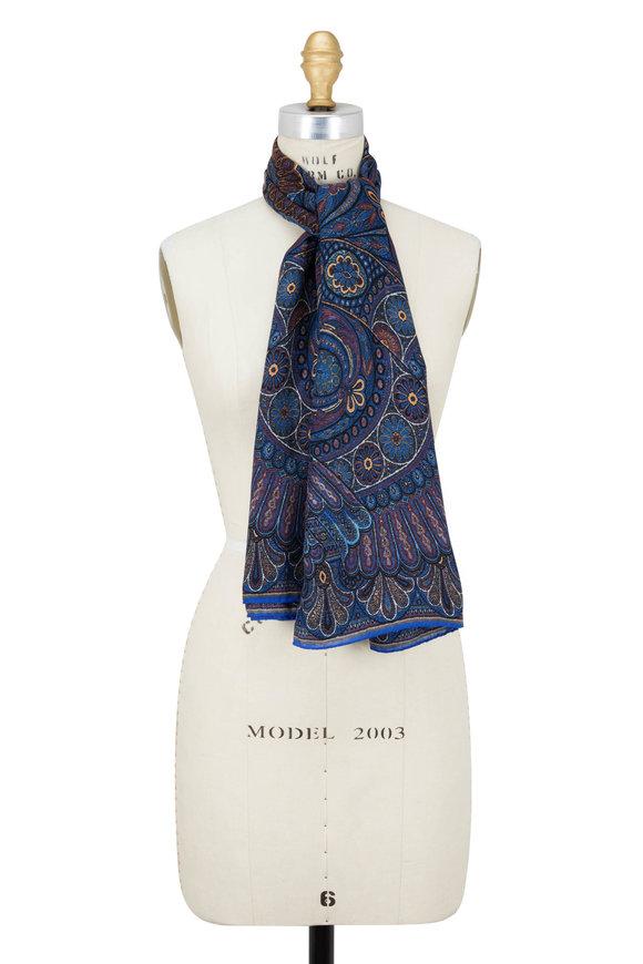 Etro Blue Paisley Wool & Silk Scarf