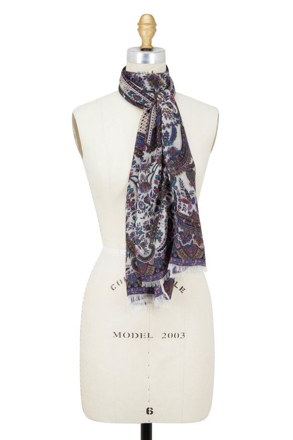 Etro White Cashmere Ground Paisley Scarf