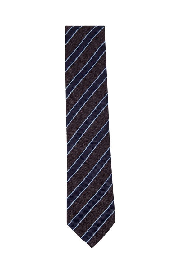 Ermenegildo Zegna Brown & Navy Blue Diagonal Striped Silk Necktie