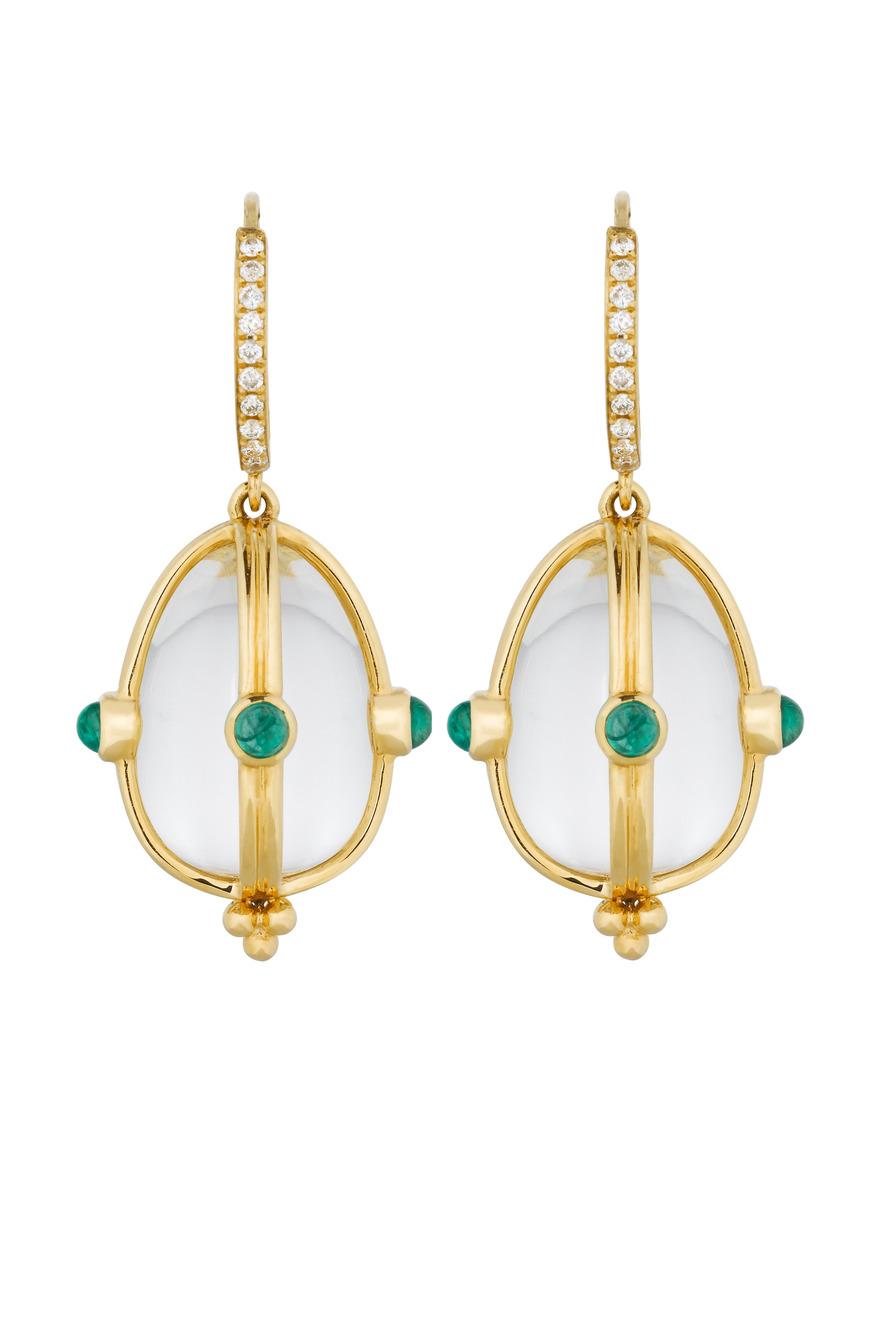 Yellow Gold Crystal & Emerald Diamond Earrings