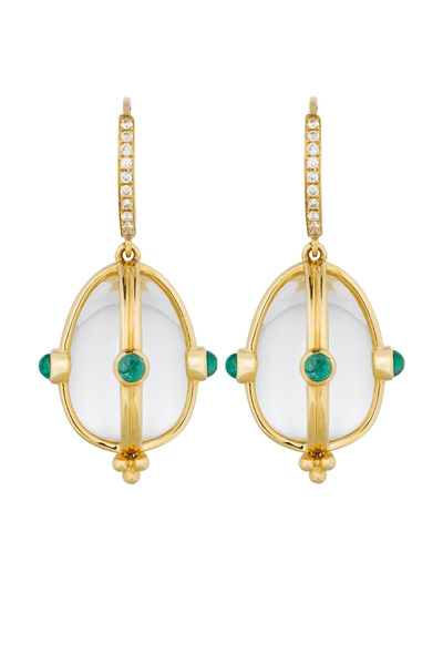 Temple St. Clair - Yellow Gold Crystal & Emerald Diamond Earrings