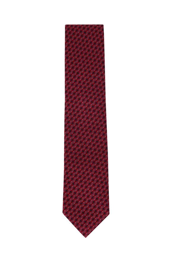 Ermenegildo Zegna Red Geometric Silk Necktie
