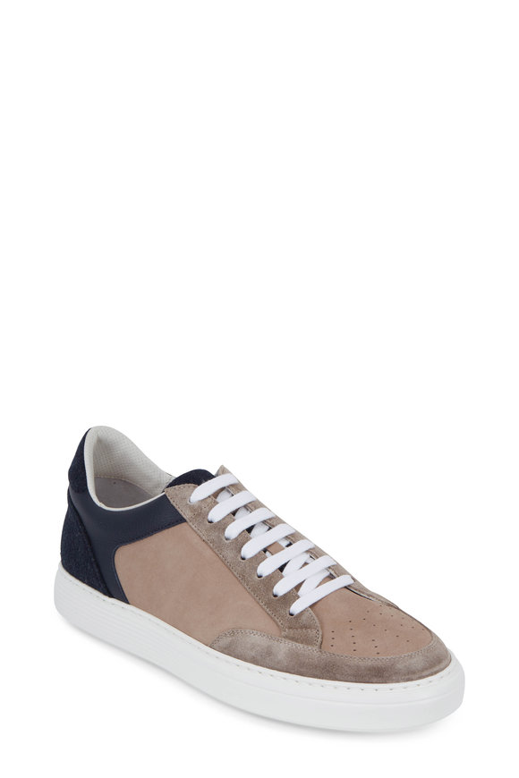 Brunello Cucinelli Light Gray Suede & Navy Blue Felt Sneaker