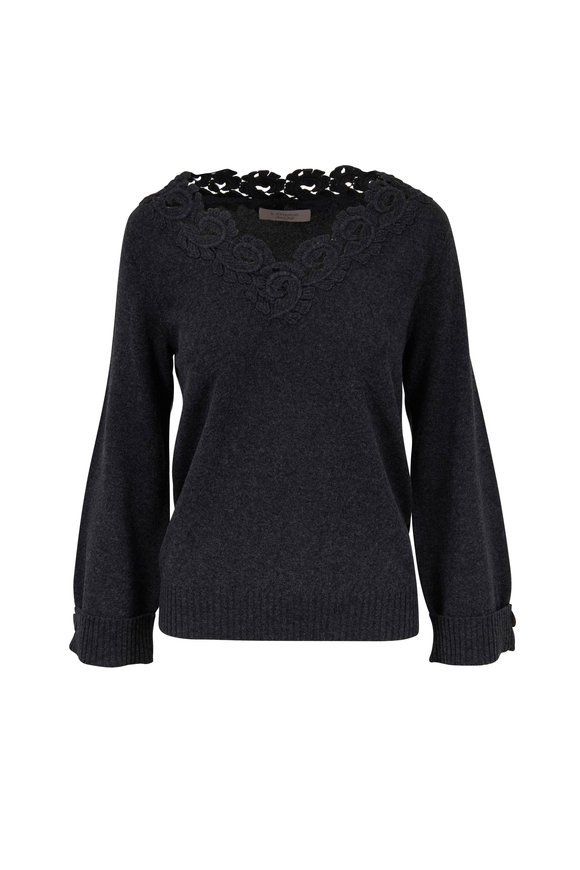 D.Exterior Antracite Floral Lace V-Neck Sweater