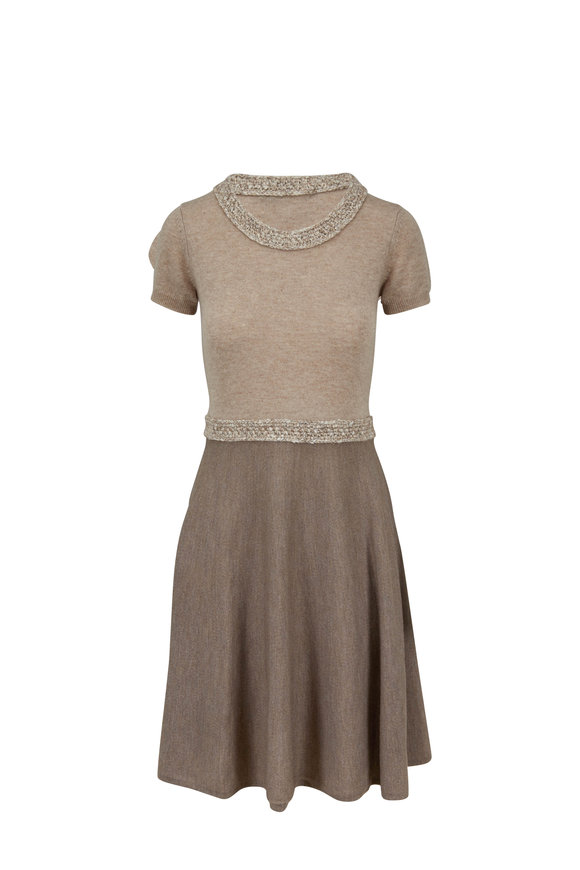 Paule Ka Taupe & Praline Cashmere Knit Dress