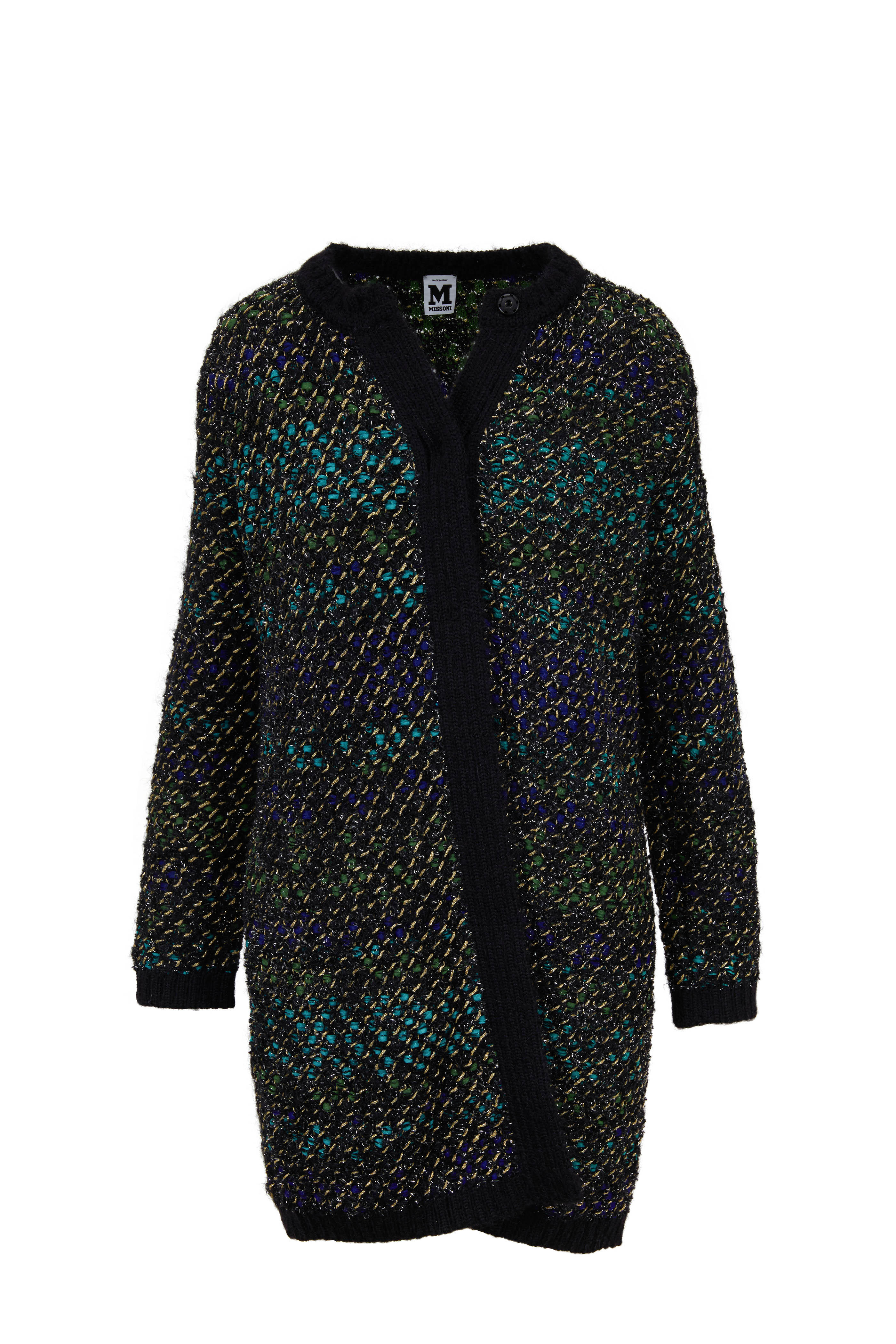 c726b56bd5 M Missoni - Black Multi Knit Tweed Long Cardigan