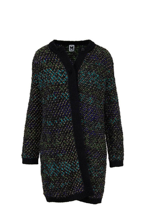 M Missoni Black Multi Knit Tweed Long Cardigan