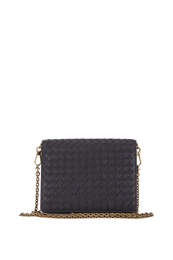 Bottega Veneta Black Intrecciato & Snakeskin Chain Wallet