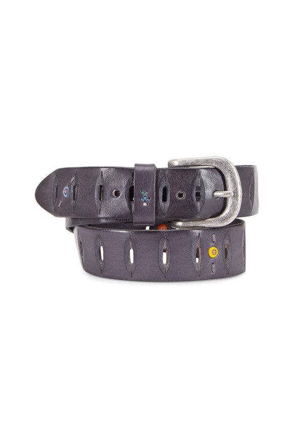 Henry Beguelin Black Leather Spicchi Cut-Out Belt