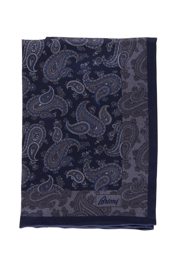 Brioni Royal Blue Paisley Silk Pocket Square
