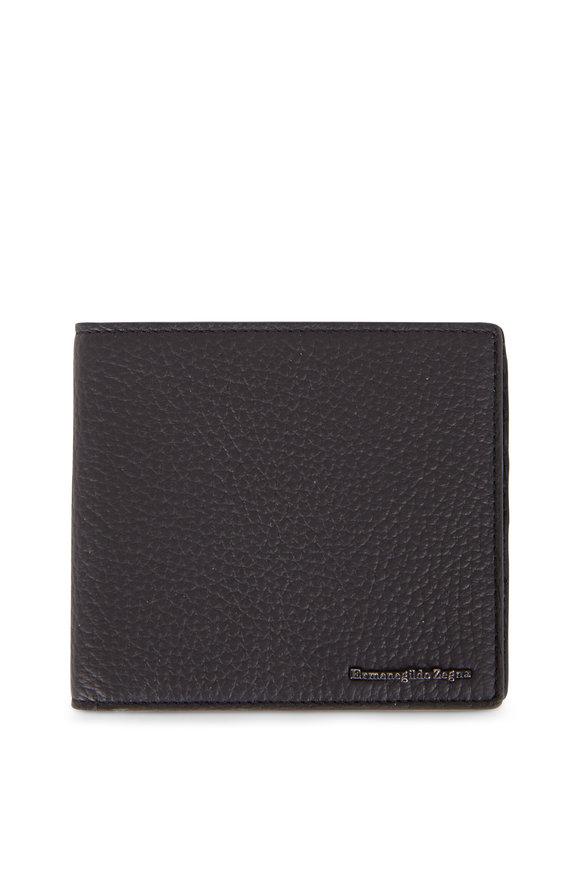 Ermenegildo Zegna Black Pebble Leather Bi-Fold Wallet