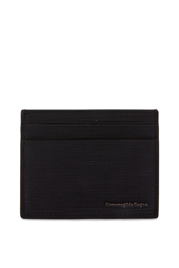 Ermenegildo Zegna Black Pebbled Leather Card Case