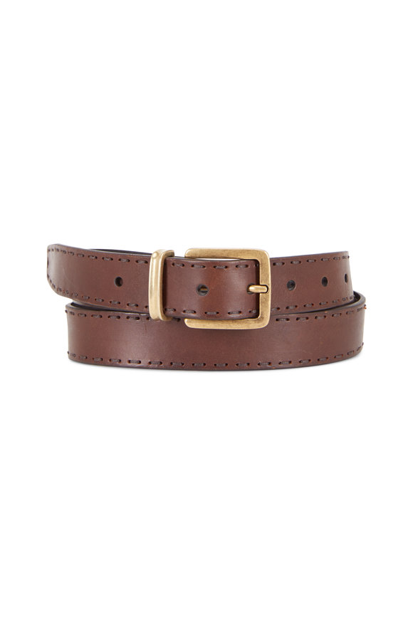 Brunello Cucinelli Mauru Dark Brown Leather Stitching Detail Belt