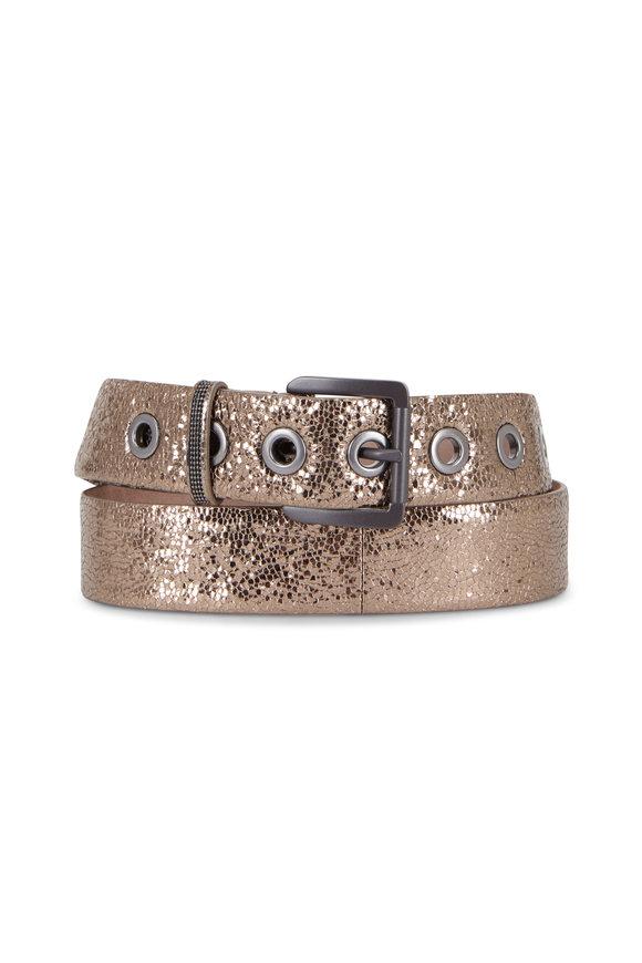 Brunello Cucinelli Platinum Crackled Leather Grommet Belt