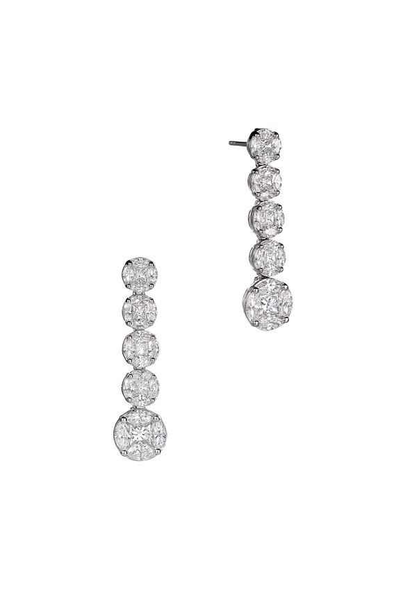 Nam Cho 18K White Gold Diamond Drop Earrings